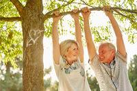Glückliches Paar Senioren verliebt im Sommer