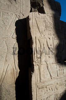 Pharaonic inscriptions at the ancient Egyptian ruins beside the Nile at Luxor, Egypt.