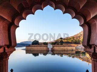 Amber Fort lake through the gates, India, Jaipur