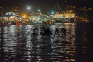 Oban bay at night