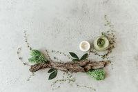 Essential creams ad scrub near natural ingredients