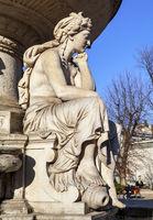 The sculpture of Danube Fountain in Budapest. The female figure symbolizes Drava river