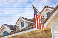 Artist Rendering of American Flag Hanging From House Facade