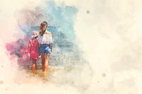 Digital watercolor image. Back rear view mother and little daughter holding hands standing in sea water looking into horizon, copy space for text. Family travel and summer vacation concept