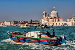 Venice, Italy - 03/15/2020 - view from san giorgio to santa maria della salute