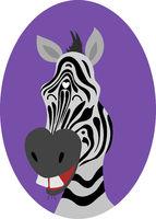 Cute zebra head cartoon. Smile. Happy. Vector illustration.