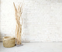 Stylish plant and wicker basket in room