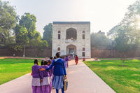 Indian school girls near the Humayun's Tomb entrance, New Delhi, India