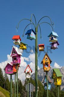 STAULANZA PASS, VENETO/ITALY - AUGUST 10 : Bird houses for sale at Staulanza, Veneto, Italy on August 10, 2020