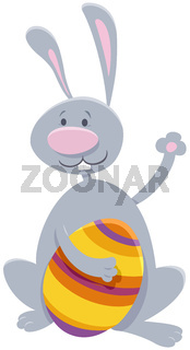 cartoon Easter bunny with colorful Easter egg