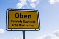 Ortsschild, Oben, Nordstrand, Nordfriesland, Schleswig-Holstein, Deutschland