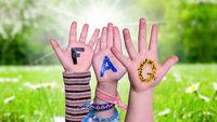 Children Hands Building Word FAQ, Grass Meadow