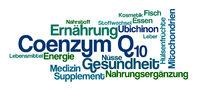 Word Cloud on a white background - Coenzyme Q10 - Coenzym Q10 (German)