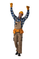 Contractor worker with arms raised