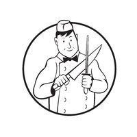 Butcher Sharpening Knife Front View Circle Cartoon Black and White