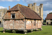 MIDHURST, WEST SUSSEX/UK - SEPTEMBER 1 : View of the Cowdray Castle medieval granary set on toadstools to prevent access by rats in Midhurst, West Sussex on September 1, 2020