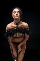 Gorgeous brunette in lace lingerie shot