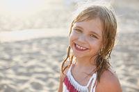 Happy little girl summer portrait
