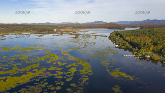 Tupper Lake Fall Color Aerial Perspective Adirondacks New York