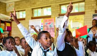 African Children in Primary School Classroom