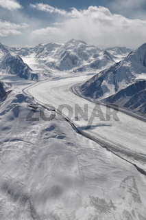 Scenic view of Fedchenko Glacier in Pamir mountains in Tajikistan