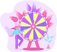 Wheel of Fortune and the girl, roulette luck flat icon for casino games, winning, luck, success. Vector illustration
