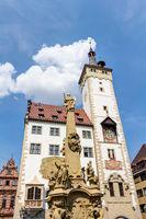 Grafeneckart und Vierröhrenbrunnen in Würzburg, Unterfranken in Bayern