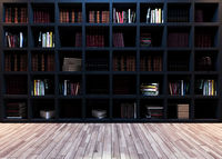 Modern black bookshelf with wooden parquet 3D rendering