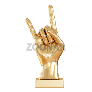 A golden figurine of a hand with two raised fingers on a white background. Front view. 3d rendering