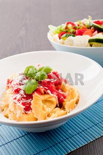 tasty fresh homemade ravioli and tomato sauce