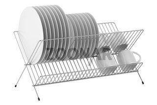 plate rack with tableware isolated on white background