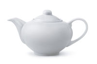 Side view of white ceramic teapot
