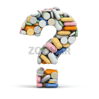 Pills as question. Medical concept.