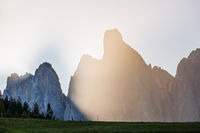 Geisler or Odle Dolomites mountain group rocks in contra light