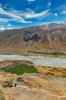 Aerial view of Spiti valley and Key gompa in Himalayas