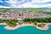 Crikvenica. Town on Adriatic sea beach and waterfront aerial view