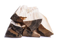 Pile of firewood isolated on a white