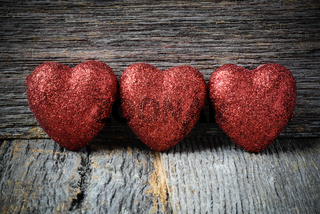 Hearts on Vintage Wood Background for Valentine's Day