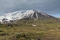 Kamchatka mountain landscape on cloudy day: Oval Zimina Volcano