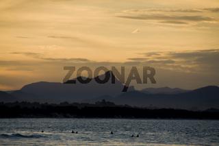 Australische Küste bei Sonnenuntergang