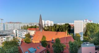 Berlin Lichtenberg, St. Mauritius (Mauritiuskirche), Frankfurter Allee Süd, Wohngebiet, Panorama