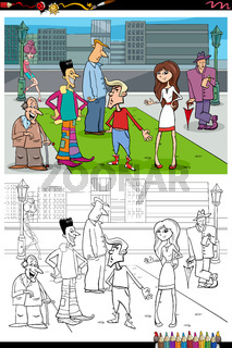 cartoon people group in the city coloring book page