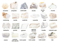 set of various unpolished white minerals with name
