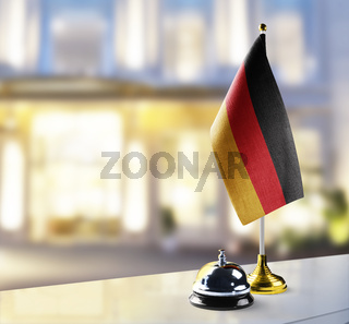 Germany flag on the reception desk in the lobby of the hotel