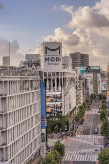 Sunset sky on Shibuya Center Gai Street which literally means Shibuya Central District.