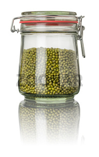 Mung beans in a jar