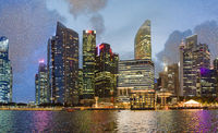 Singapore night skyline. Buildings along Marina Bay area