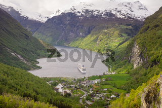 View on Geiranger Fjord in Norway. Landscape, nature, travel and tourism.