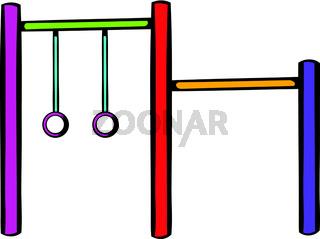 Horizontal bar with climbing rings icon