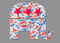 Elephant logo outline created from many election voting stickers or badges for Republican party